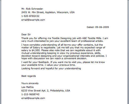 job offer negotiation letter sample