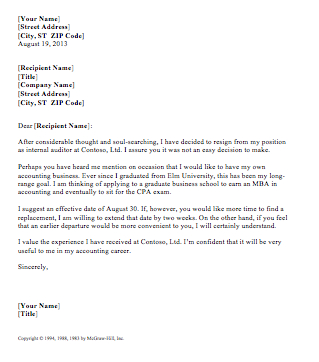 Resignation Letter with Flexible Date