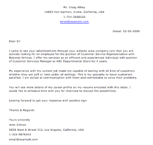 Sample Customer Service Letter – Smart Letters ... Resume Cover Letter Customer Service Job