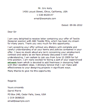 Letter Sample Accepting Resignation Letter Sample
