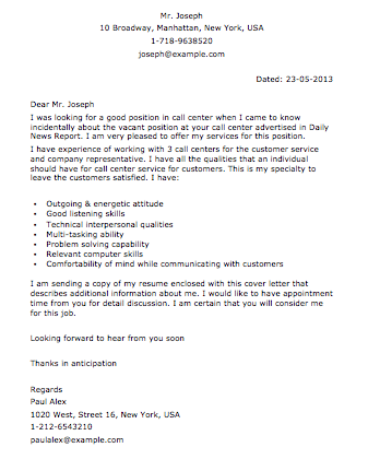 Resume Cover Letter For Call Center Jobs