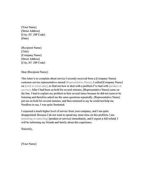 Doc.#529684: Formal Letter Complaint Sample – Free Complaint ...