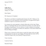 Complaint Response Letter
