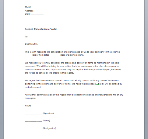 Letter Of Termination Sample