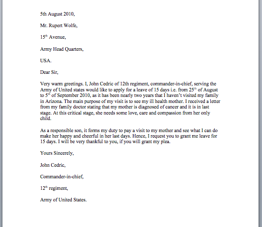 application letter for leave of absence due to illness