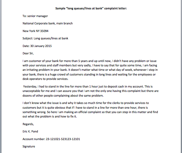 sample complaint letter to bank manager