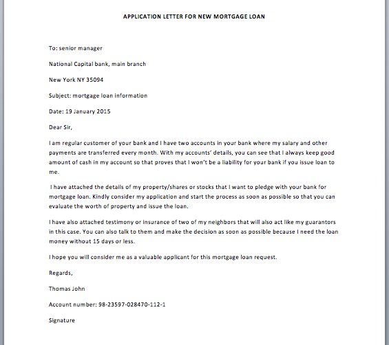 Exit Strategy Letter For Mortgage Loan Sample Letter