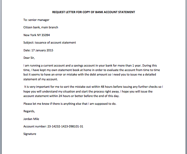 Bank Account Statement Request Letter Smart Letters – Request for Salary Increment Letter Format