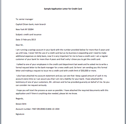 Application Letter for Credit Card - Smart Letters