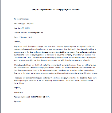 Complaint letter for mortgage payment problems smart letters complaint letter for mortgage payment problems expocarfo
