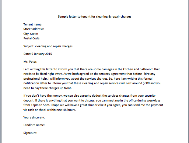 Sample letter to tenant for cleaning repair charges smart letters collection of free sample letters yelopaper Images