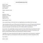 Doctor Resignation Letter Sample