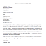 General Manager Resignation Letter Sample