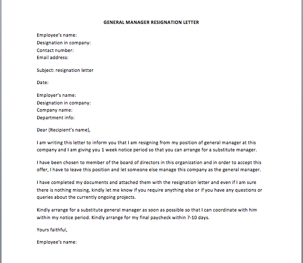 Resignation Letter Announcement To Employees