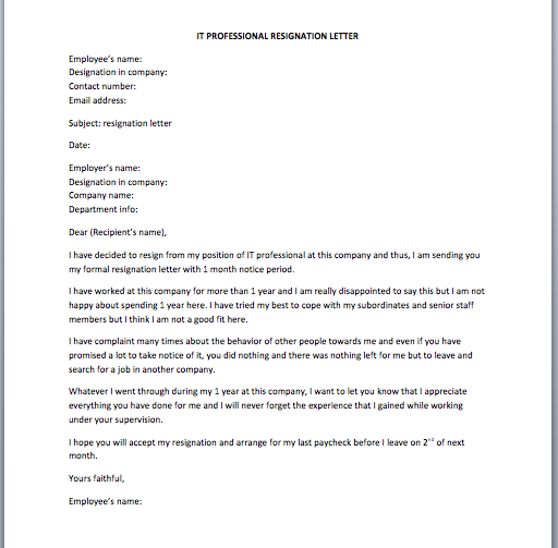 IT Professional Resignation Letter - Smart Letters