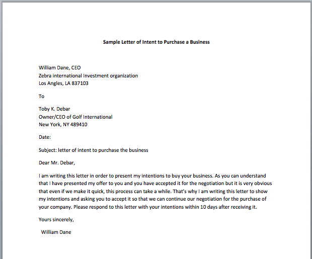 Sample Letter of Intent to Purchase a Business Smart Letters – Letter of Intent to Purchase