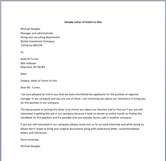Sample Letter of Intent to Hire  Smart Letters