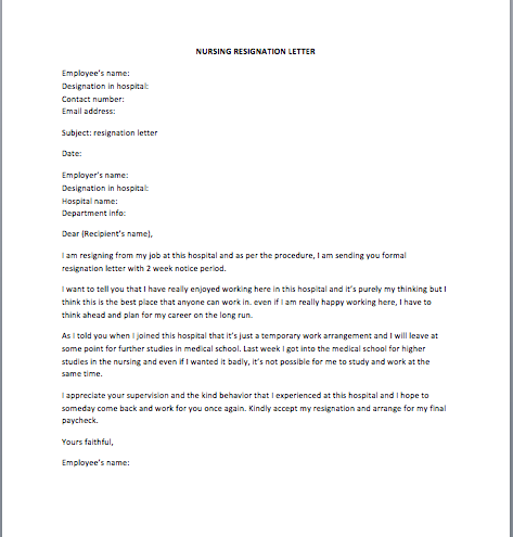 Nursing Resignation Letter Sample  Nurse Resignation Letter