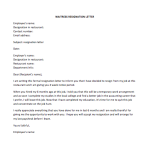 Waitress Resignation Letter