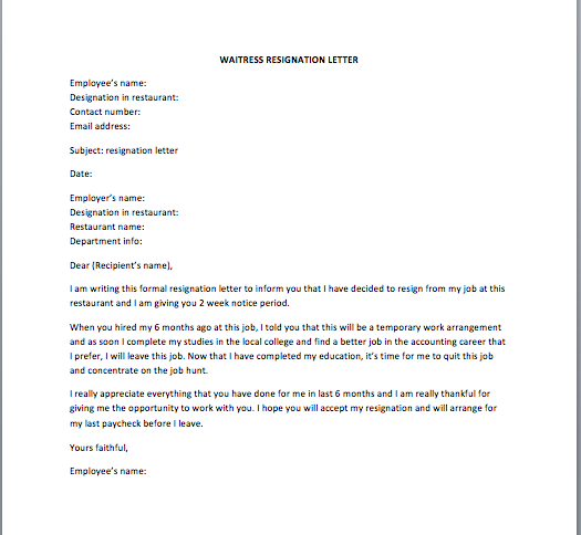 Waitress resignation letter smart letters collection of free sample letters spiritdancerdesigns
