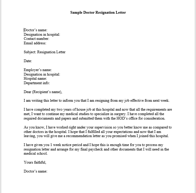 Doctor resignation letter sample smart letters doctor resignation letter spiritdancerdesigns Choice Image