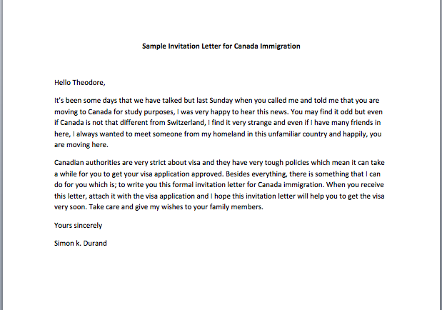 Sample invitation letter for canada immigration smart letters stopboris Gallery