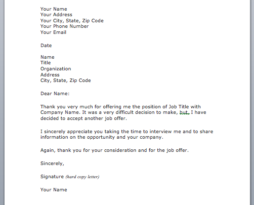 Job Offer Decline Letter