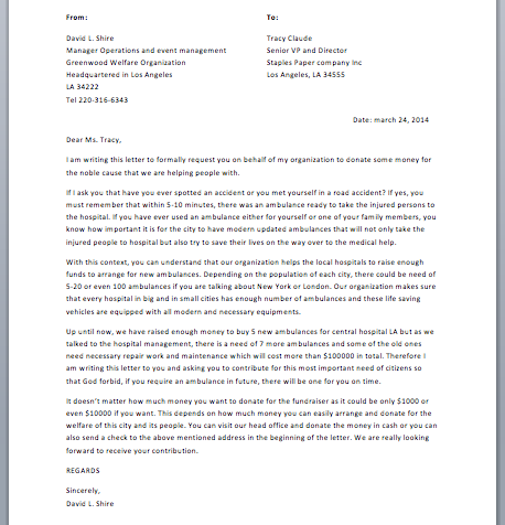 Sample Fundraising Letter - Smart Letters