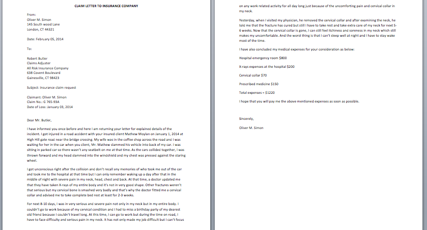 Insurance Claim Denial Letter Sample from www.smartletters.org
