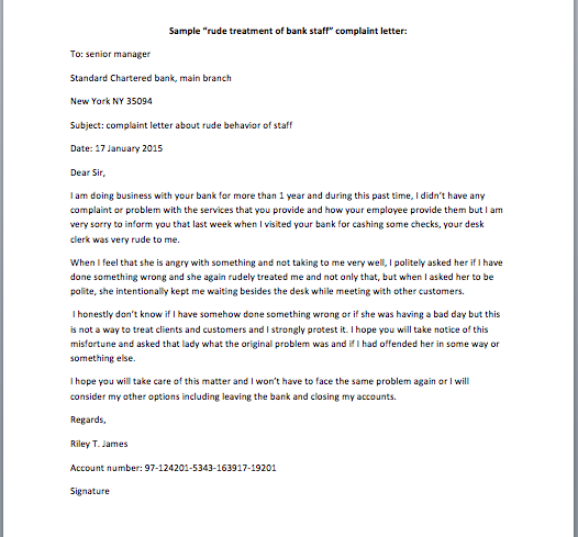rude treatment of bank staff complaint letter