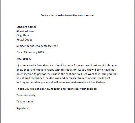 Lease Take Over >> Sample Request Letter to Landlord Requesting to Decrease Rent - Smart Letters
