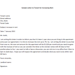letter of intent to raise rent