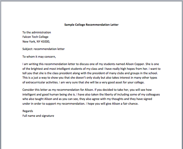 sample college recommendation letter for student