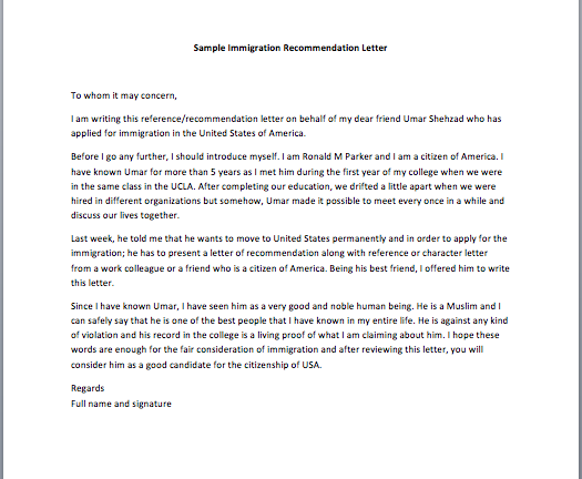 Sample Letter Of Recommendation For A Friend For Immigration from www.smartletters.org