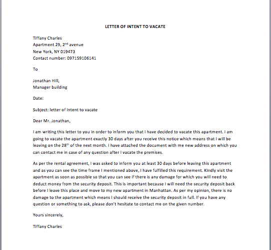 intent to vacate letter beautiful intent to vacate letter cover letter examples 15046