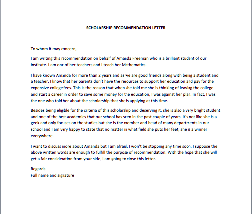letter of recommendation for scholarship scholarship recommendation letter smart letters 1416